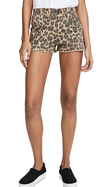 Pam & Gela Leopard Lace Up Detail Shorts