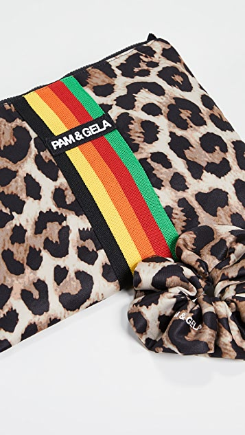 Pam & Gela Leopard Makeup Case and Scrunchie