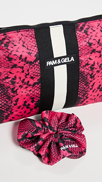 Pam & Gela Raspberry Snake Makeup Case and Scrunchie