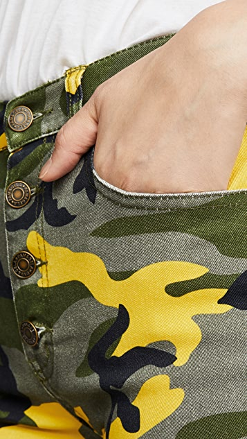 Pam & Gela Camo Exposed Button Cropped Kick Flare Pants