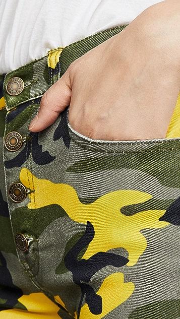 Pam & Gela Укороченные расклешенные камуфляжные брюки Kick с наружными пуговицами