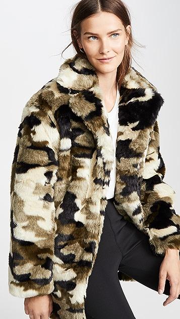 Pam & Gela Camo Faux Fur Coat