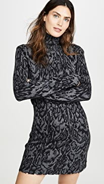 Ocelot Mock Neck Dress