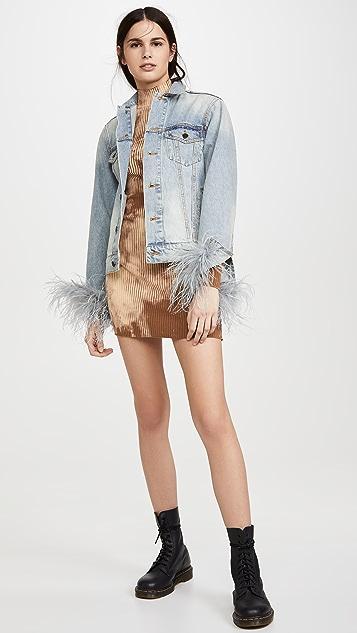Pam & Gela Feather Cuffed Denim Jacket