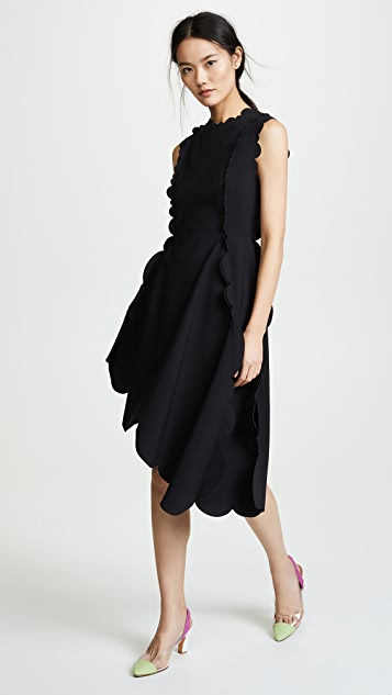 Paskal Asymmetric Dress with Decorative Neckline