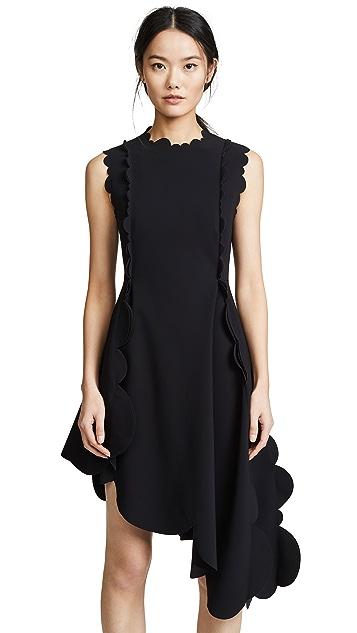 Paskal Asymmetric Dress with Decorative Neckline