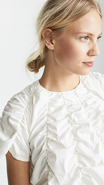 Paskal Short Sleeve Draped Crop Top