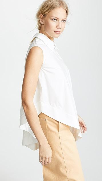 Paskal Sleeveless Shirt with Asymmetric Hem