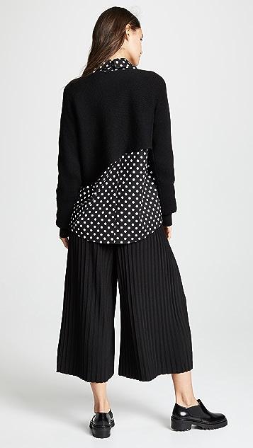 Paskal Polka Dot Shirt + Asymmetric Knit Top