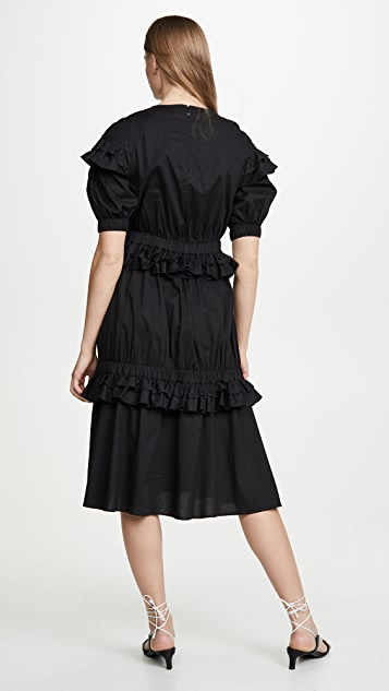 Paskal Short Sleeve Frilled Dress with Floral Appliques