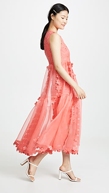 Paskal Sleeveless Double Layered cascade dress