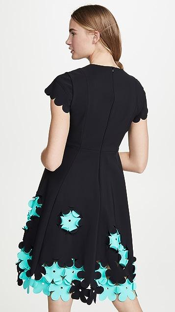 Paskal Round Neckline Dress with Appliqued Skirt
