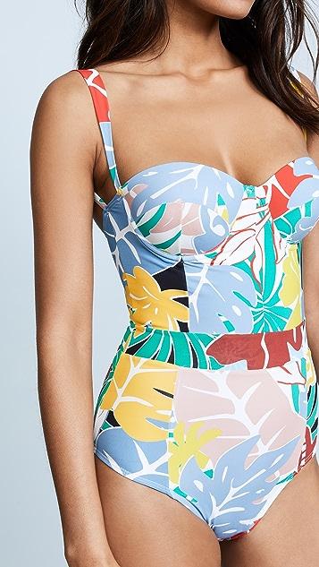 PatBO 热带风情花卉印花衣身连体泳衣