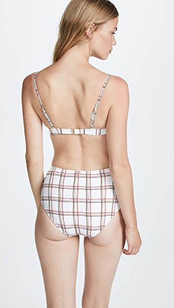 PatBO Tartan Embellished Triangle Bikini Top
