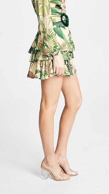 PatBO Paradise Print Ruffle Miniskirt