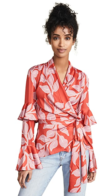 PatBO Leaf Print Ruffle Sleeve Wrap Top