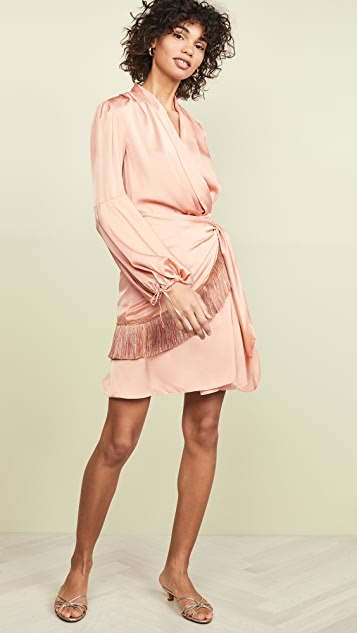 PatBO Fringe Trim Mini Wrap Dress