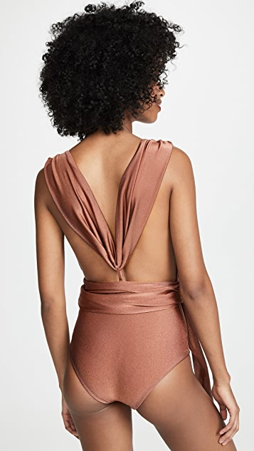PatBO Solid Plunge Belted One Piece
