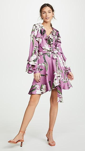 PatBO Короткое платье-халат с принтом в виде орхидей