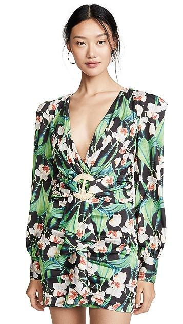PatBO Мини-платье с поясом и объемными плечами
