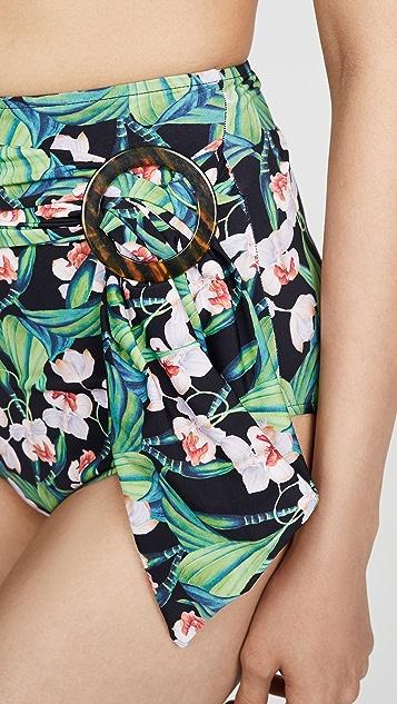 PatBO Плавки бикини с поясом и цветочным рисунком