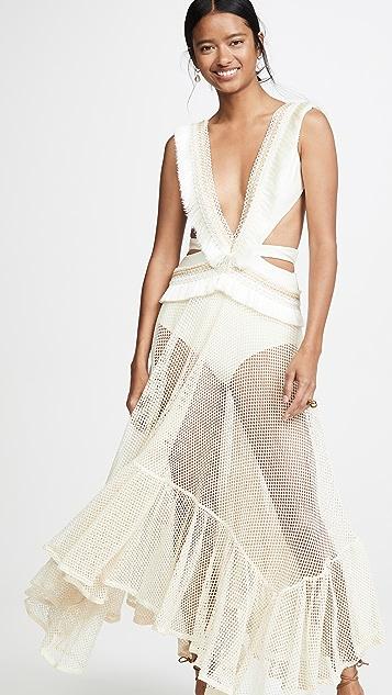 PatBO Fringe and Mesh Cutout Maxi Dress