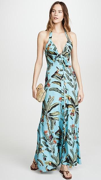 PatBO 热带印花挂脖领口长连衣裙