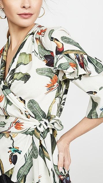 PatBo 热带风情印花裹身式上衣