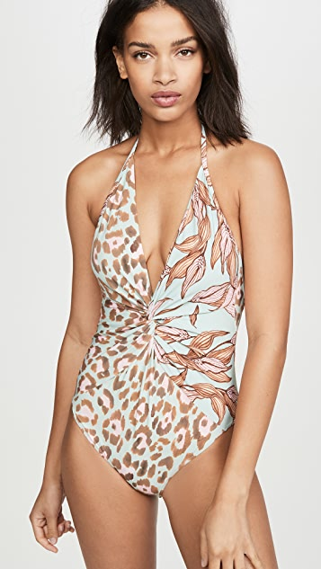 PatBO Mixed Print Deep V One Piece