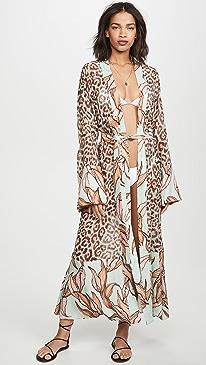 Mixed Print Sheer Robe