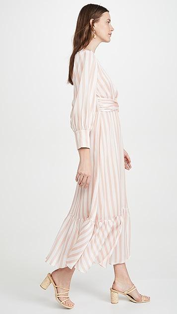 PatBO Cabana 条纹系腰带中长连衣裙