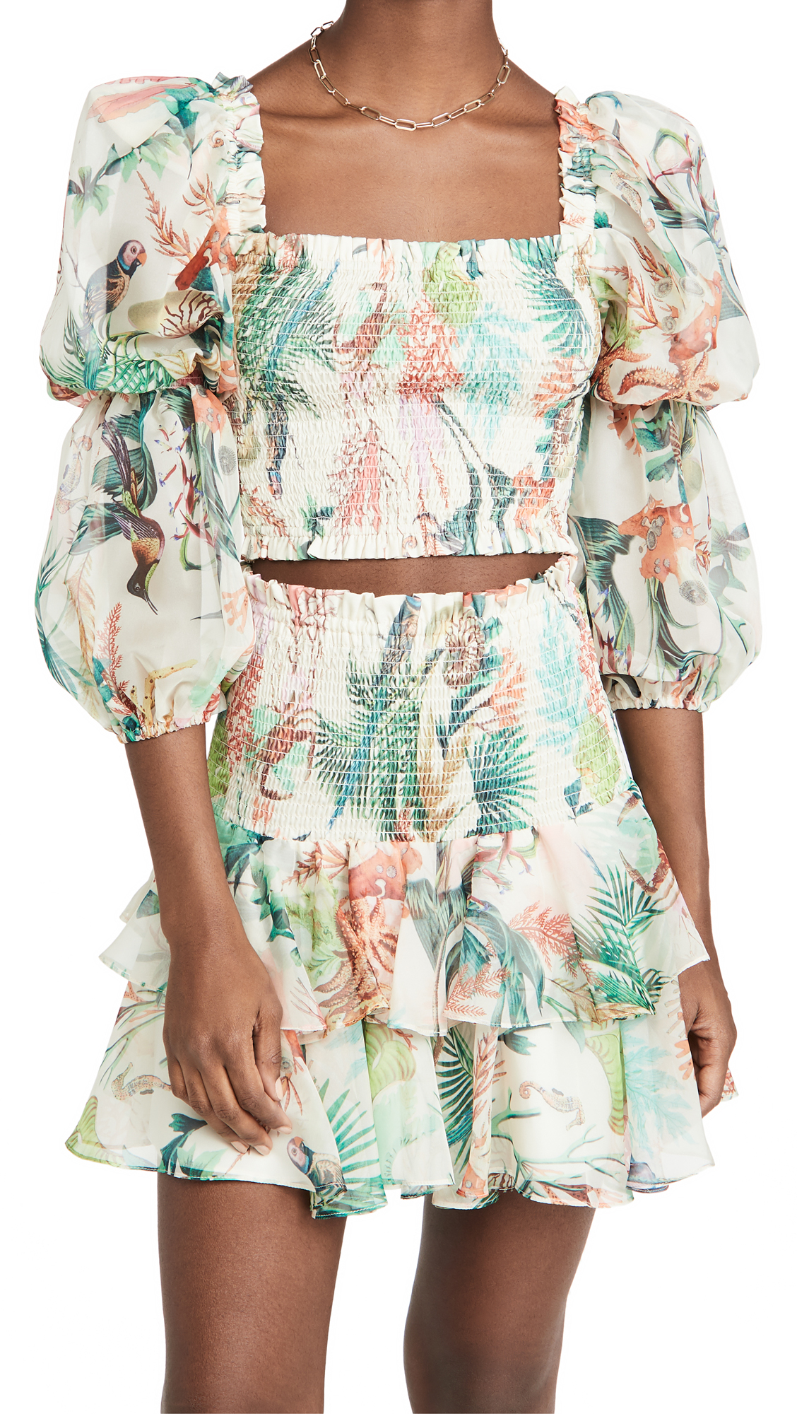 PatBO Oasis Shirred Cropped Top