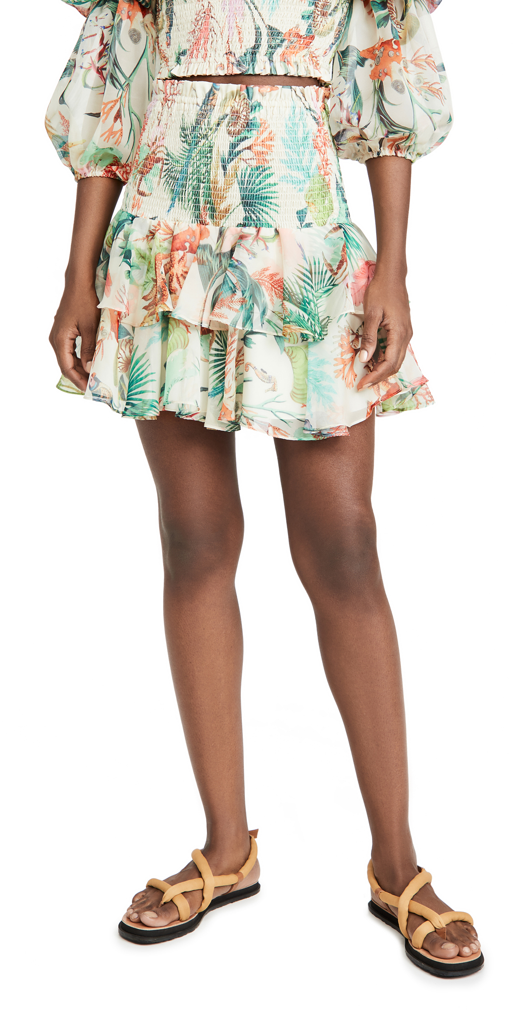 PatBO Oasis Shirred Miniskirt