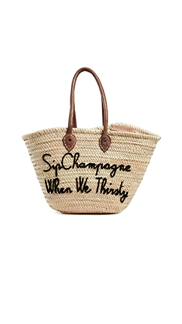 Poolside Bags La Pliage 'Sip Champagne When We Thirsty' Tote