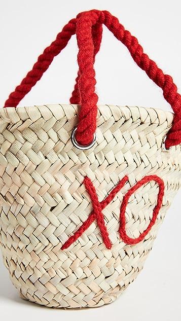 Poolside Bags Объемная сумка с короткими ручками плетения «рогожка» L'Petite XO