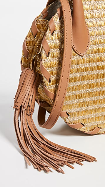 Poolside Bags Metallic Raffia Circle Whipstitch Tote