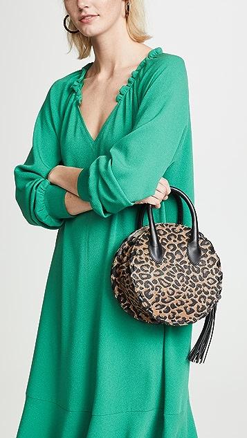 Poolside Bags Leopard Raffia Circle Tote