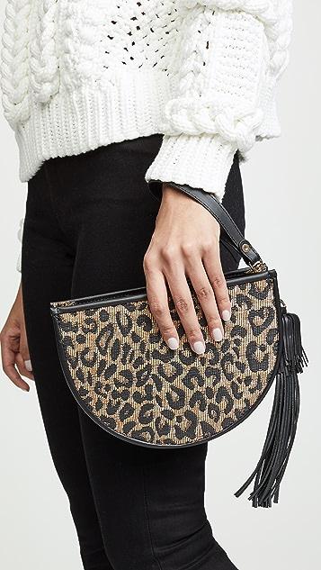 Poolside Bags Клатч из рафии с леопардовым принтом