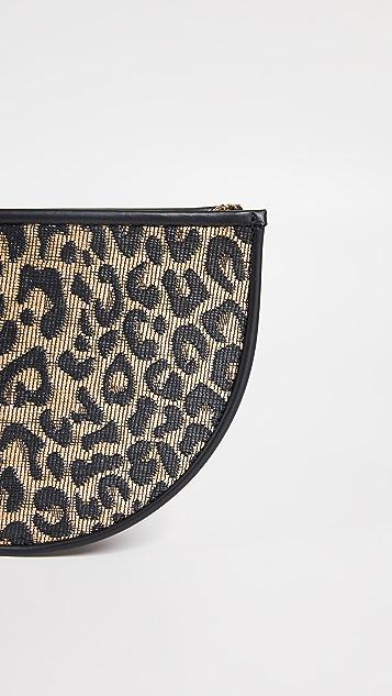 Poolside Bags Leopard Print Raffia Clutch