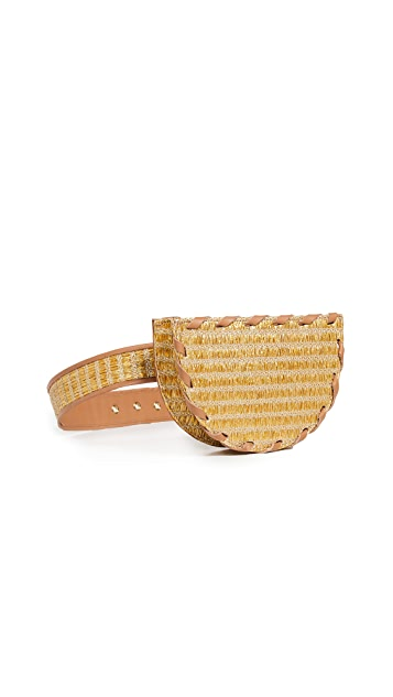 Poolside Bags Metallic Raffia Belt Bag