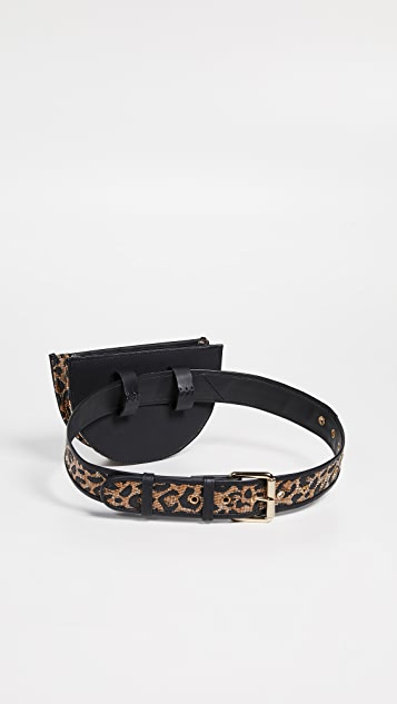 Poolside Bags Leopard Print Straw Belt Bag