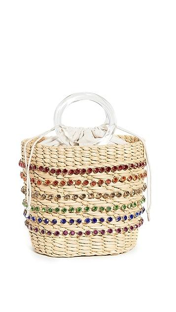 Poolside Bags Объемная сумка Mak с короткими ручками и стразами