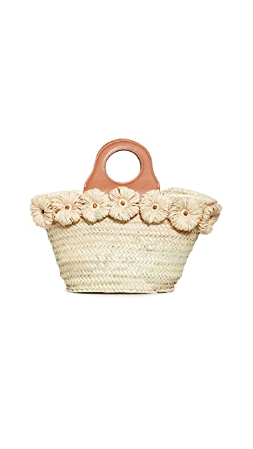 Poolside Bags Beach Tote with Raffia Flowers