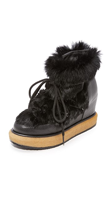 b560a86955c Paloma Barcelo Kansas Fur Wedge Booties