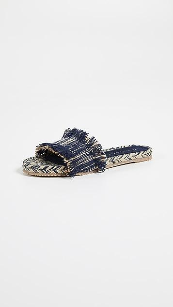 Paloma Barcelo Aqracejo Fringe Slides - Light Blue