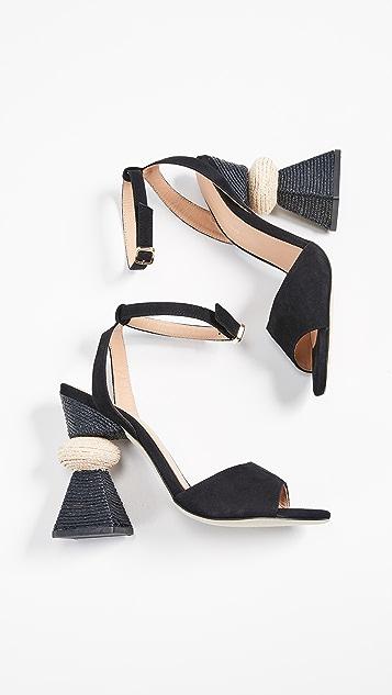 Paloma Barcelo Bibi Traingle Heel Sandals