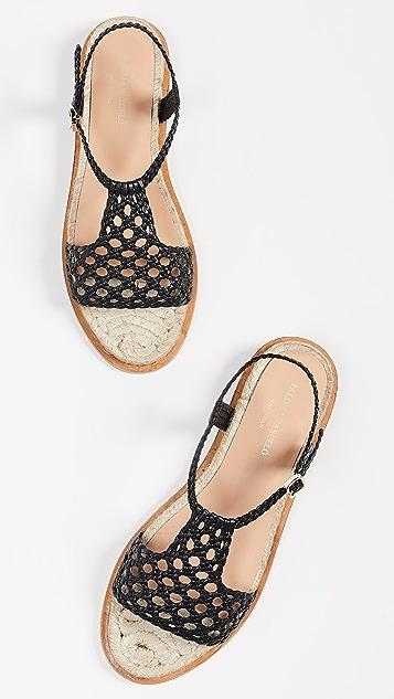 Paloma Barcelo Sandrine Woven Flat Sandals