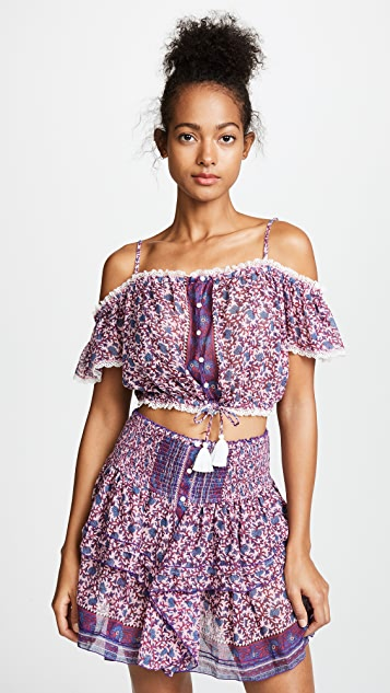 Honey printed cotton crop top Poupette St Barth