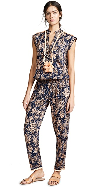 Poupette St Barth Donna Lace Trimmed Long Jumpsuit