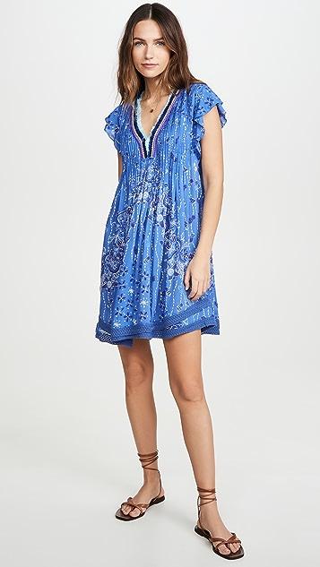 Poupette St Barth Мини-платье Sasha с кружевной отделкой